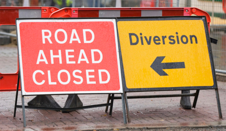 Road works near Theale